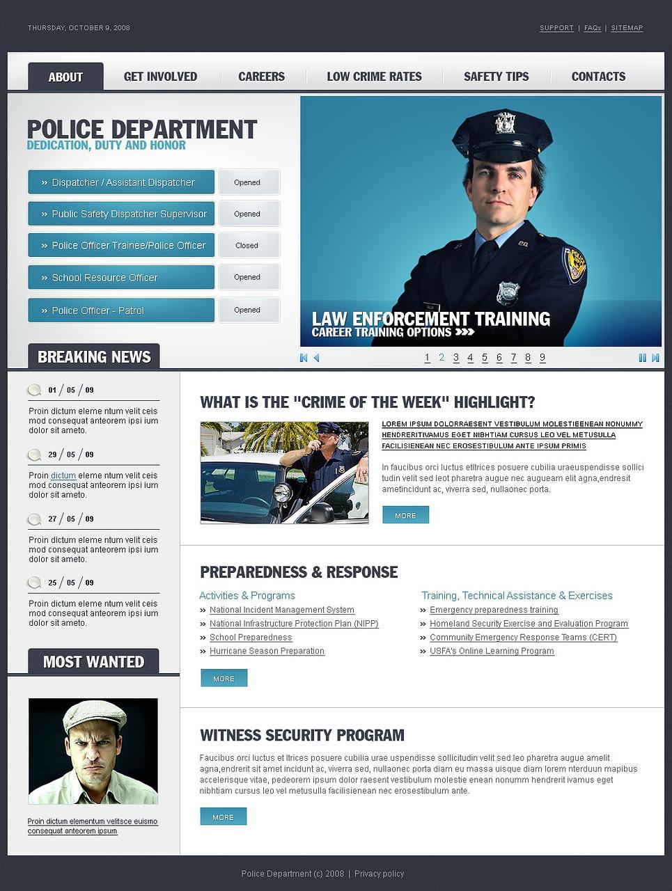 Police Website Template New Screenshots BIG