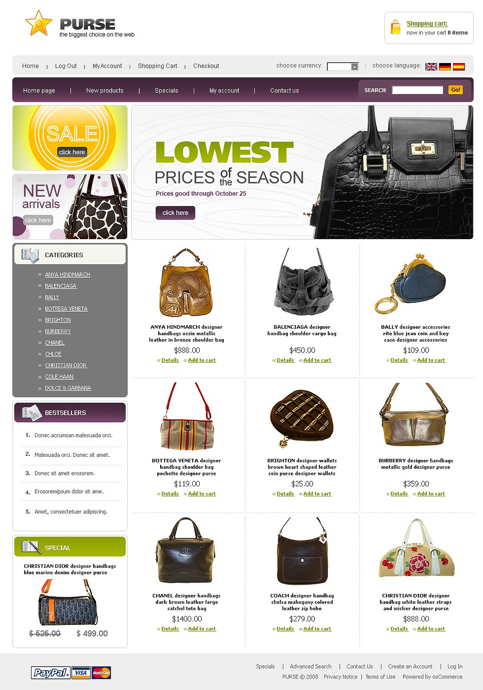 The Biggest Choice on the Web OsCommerce Template