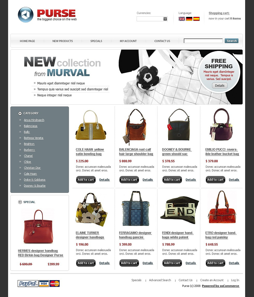 Authentic Black and White Purse OsCommerce Template