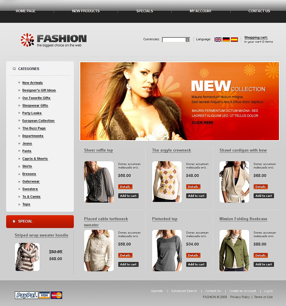Fashion Store OsCommerce Template New Screenshots BIG