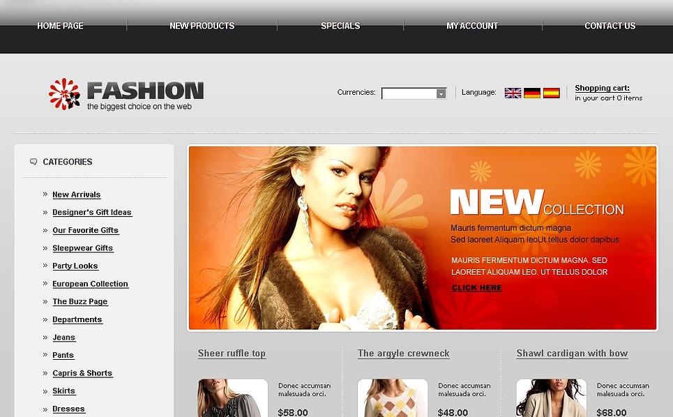 Fashion Store OsCommerce Template New Screenshots BIG