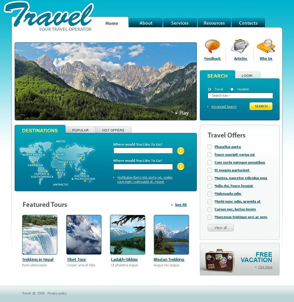 travel offers website template web design templates website templates download travel offers. Black Bedroom Furniture Sets. Home Design Ideas