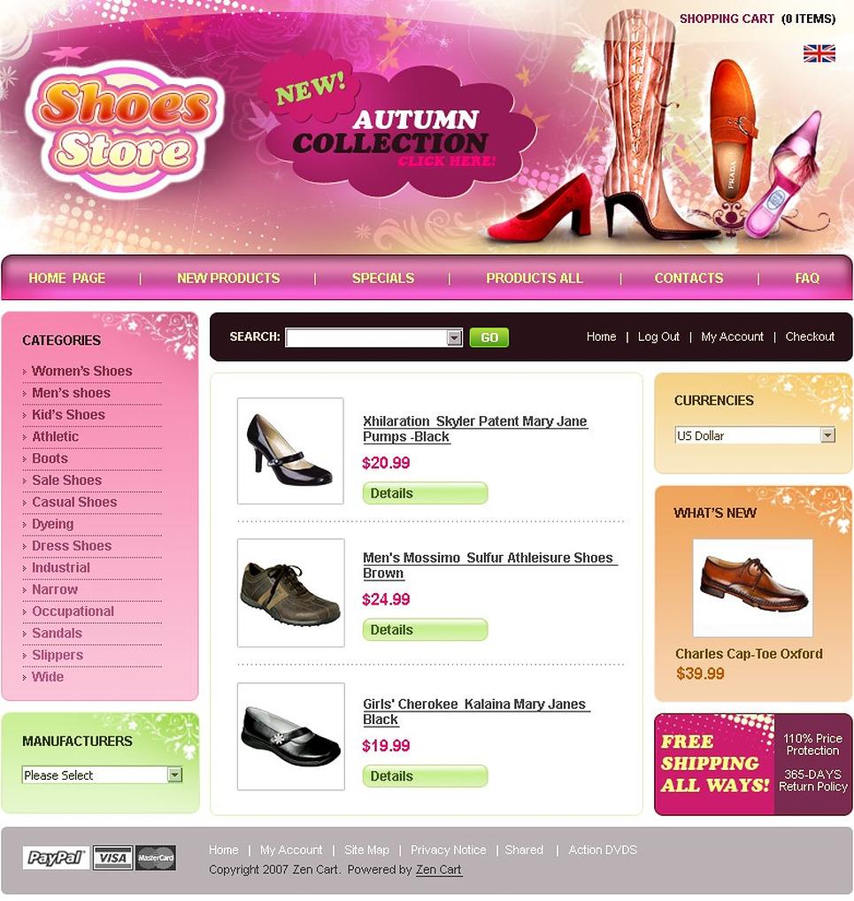 shoe store zencart template web design templates website templates download shoe store. Black Bedroom Furniture Sets. Home Design Ideas