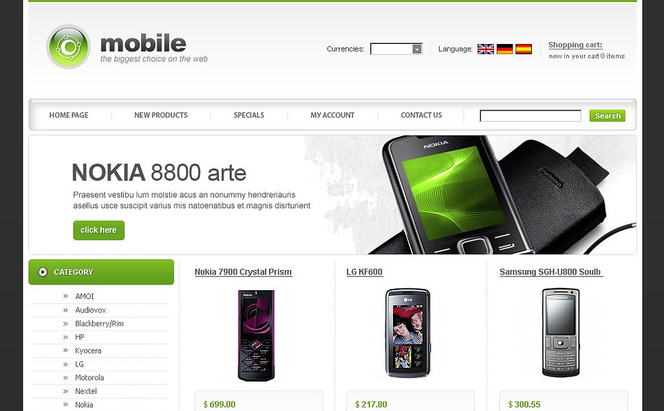 Mobile Store OsCommerce Template New Screenshots BIG