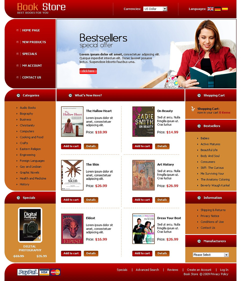 book store oscommerce template 22635. Black Bedroom Furniture Sets. Home Design Ideas