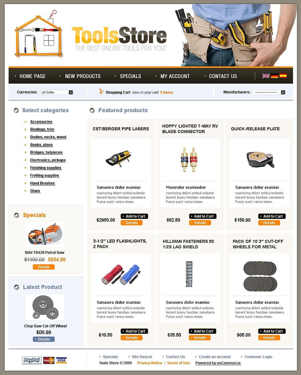 Tools & Equipment OsCommerce Template New Screenshots BIG