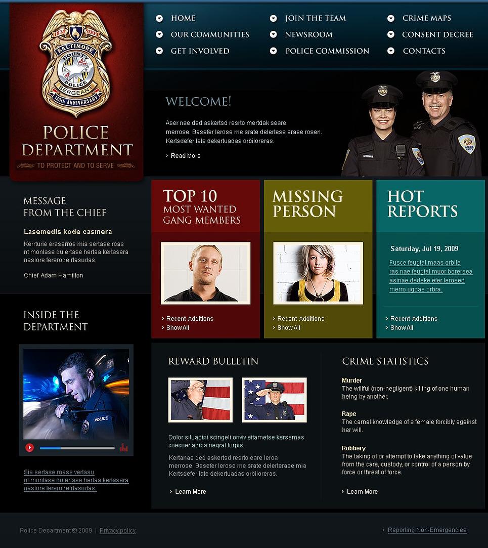Police website template web design templates website for Home design website free