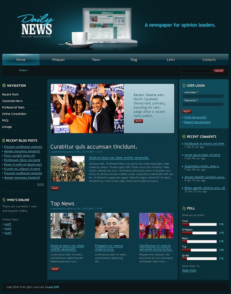 News Portal Drupal Template New Screenshots BIG