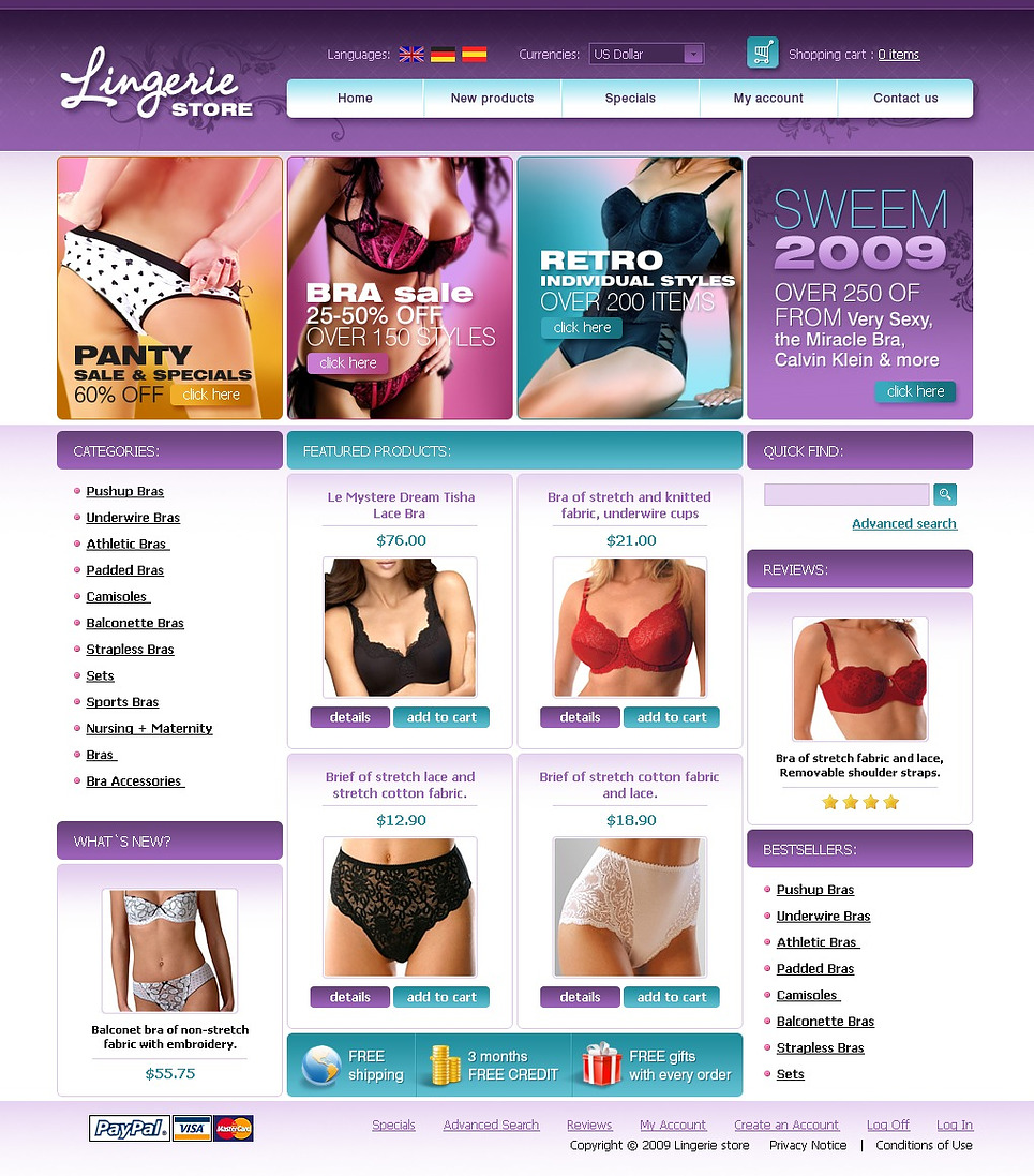 Beautiful Lingerie OSCommerce Template Looks Appealing