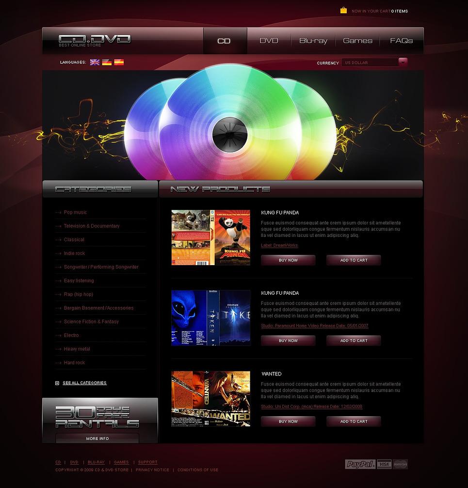 DVD Store PSD Template New Screenshots BIG