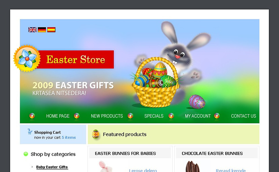 Easter Gifts Store OsCommerce Template New Screenshots BIG