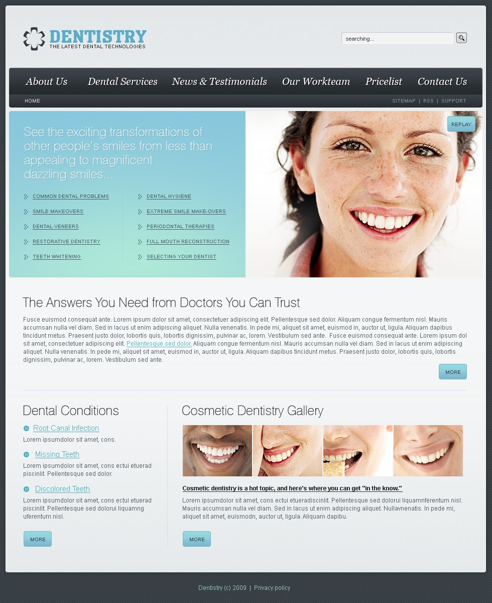 dentistry website template  23205