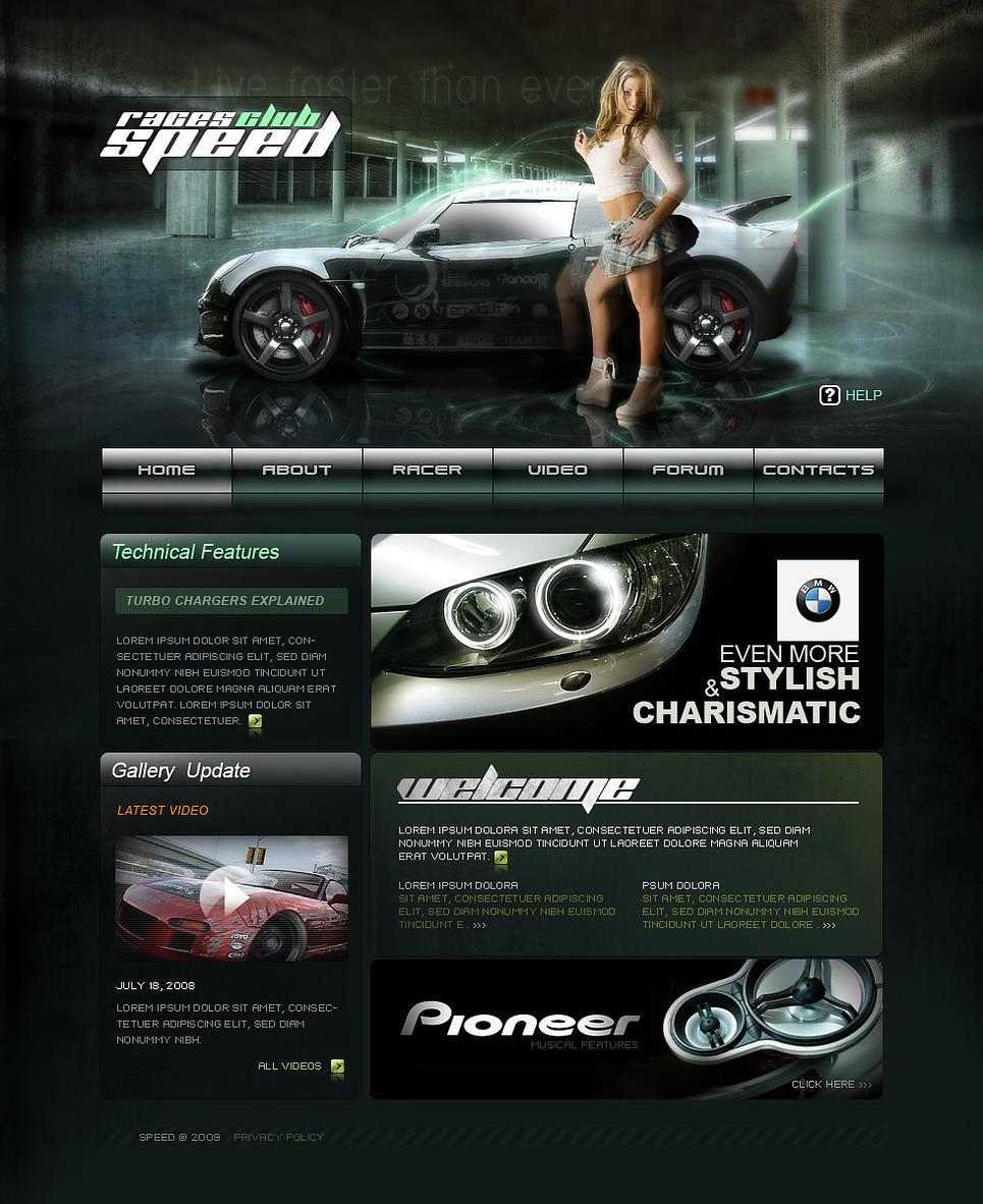 Car Club Website Template - Web Design Templates, Website ...