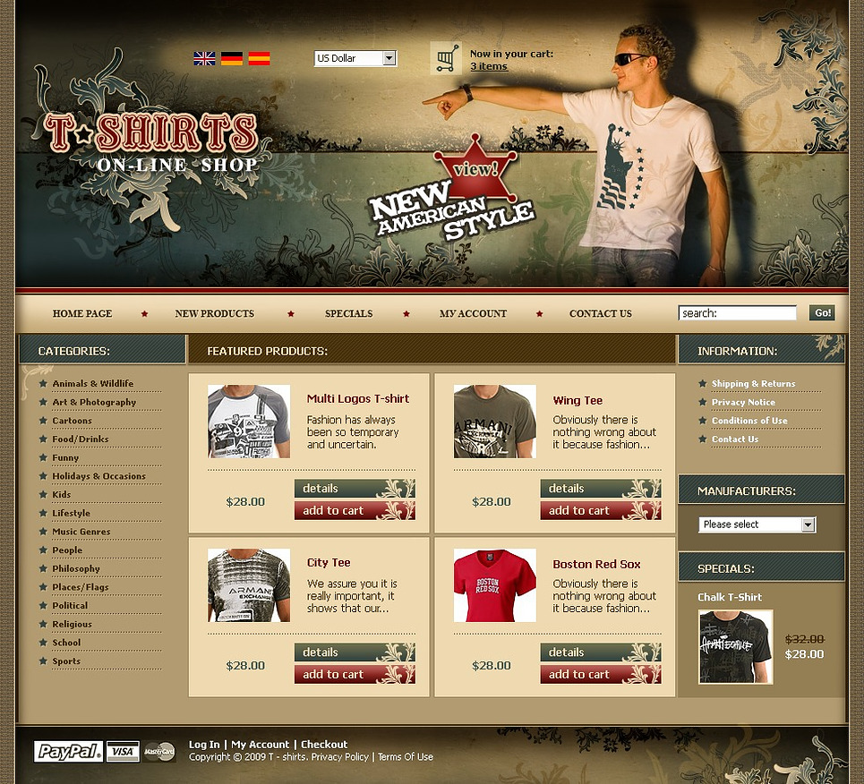 T-shirt Shop OsCommerce Template New Screenshots BIG