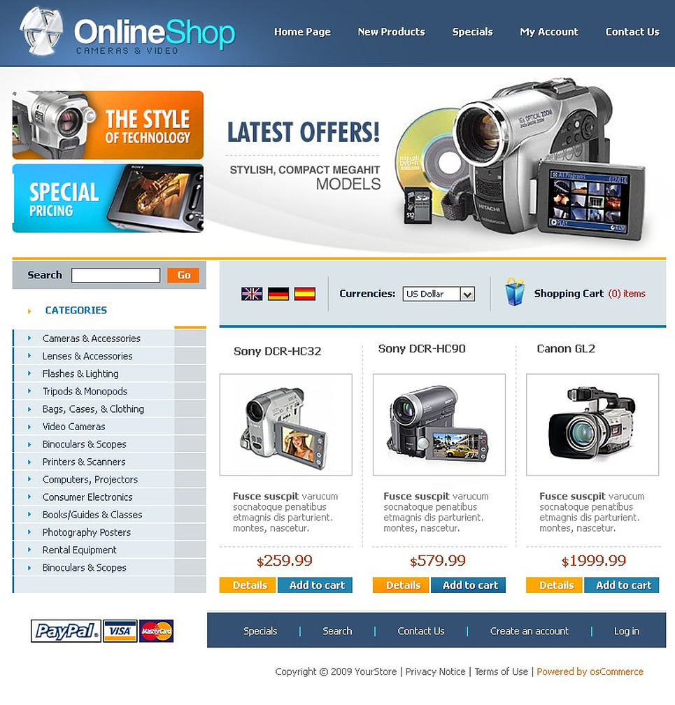 Video Store Oscommerce Template 23342
