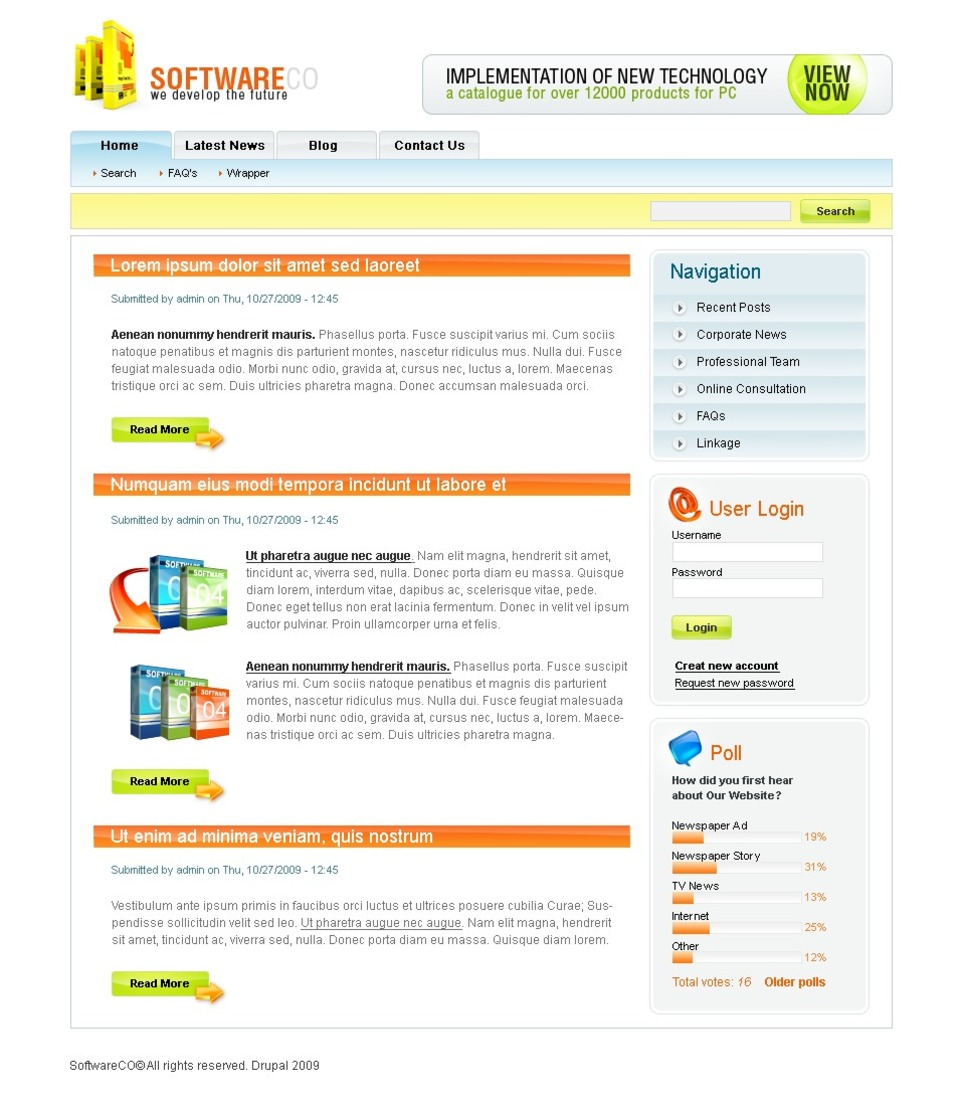 Software Company Drupal Template New Screenshots BIG