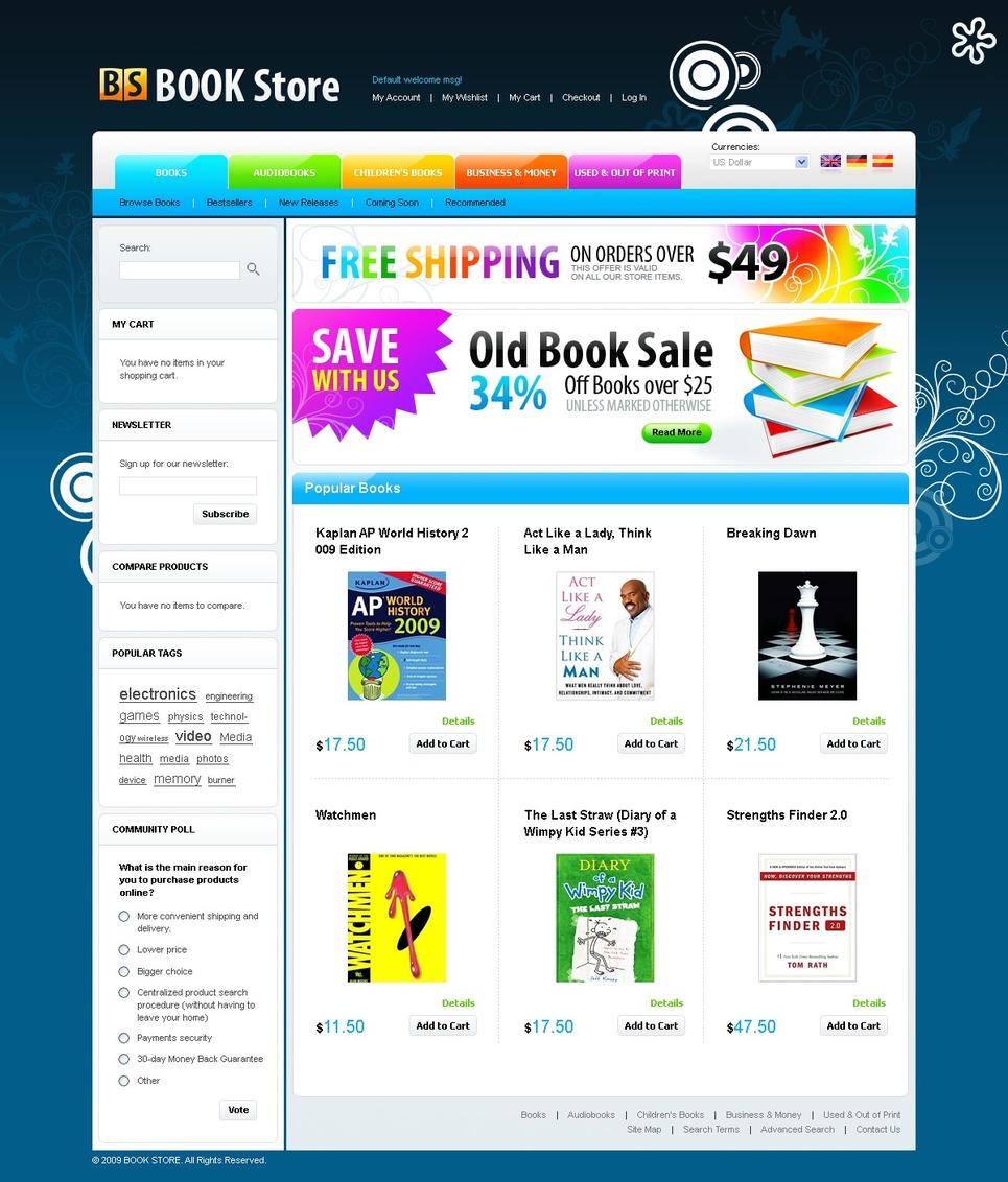 Essential Book Store Magento Theme