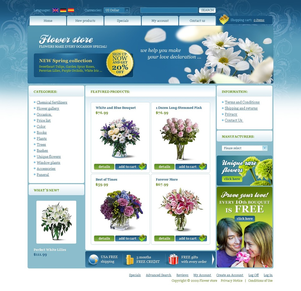 Flower Shop OsCommerce Template New Screenshots BIG