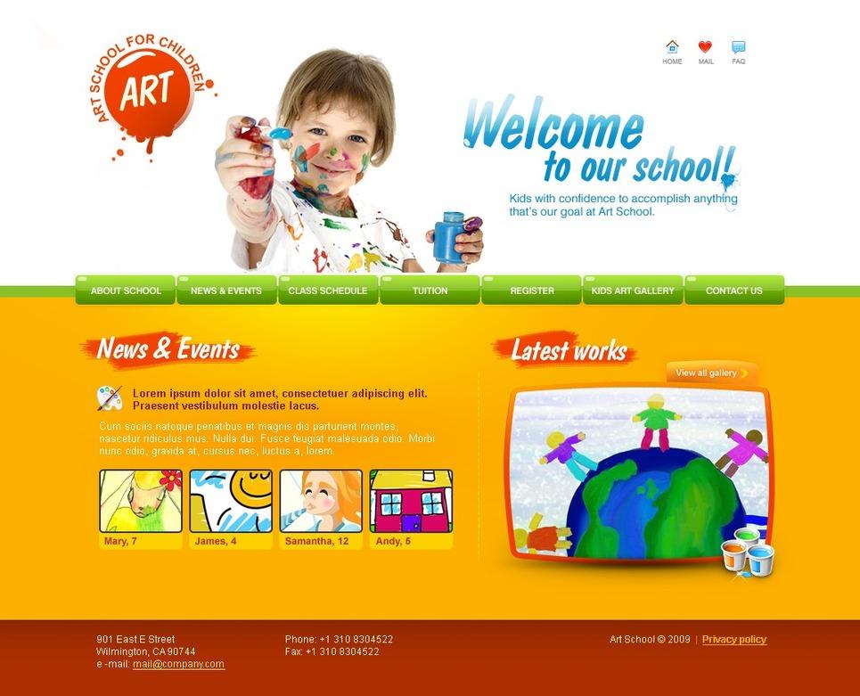 Art school website template 23643 for Drawing websites
