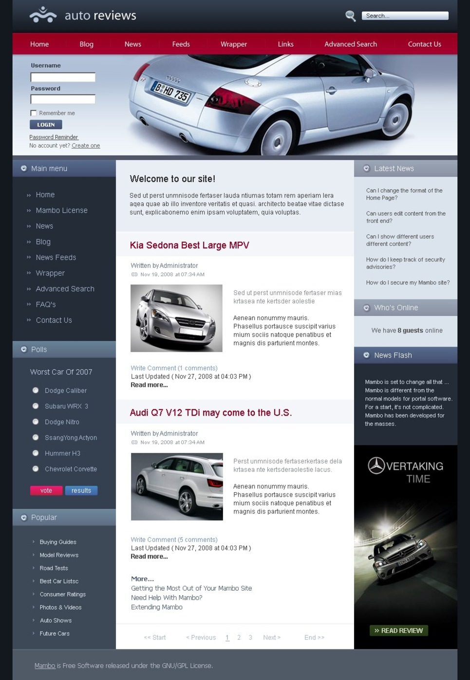 Car Club Joomla Template New Screenshots BIG