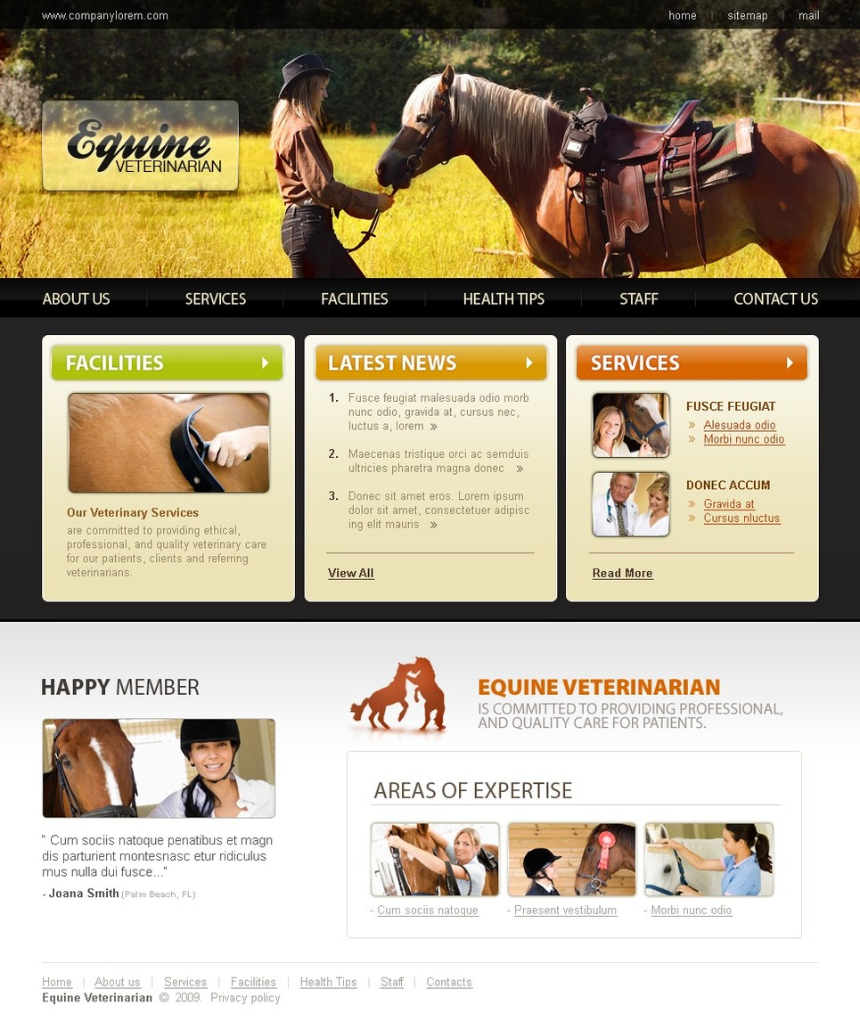 Horse Website Template New Screenshots BIG