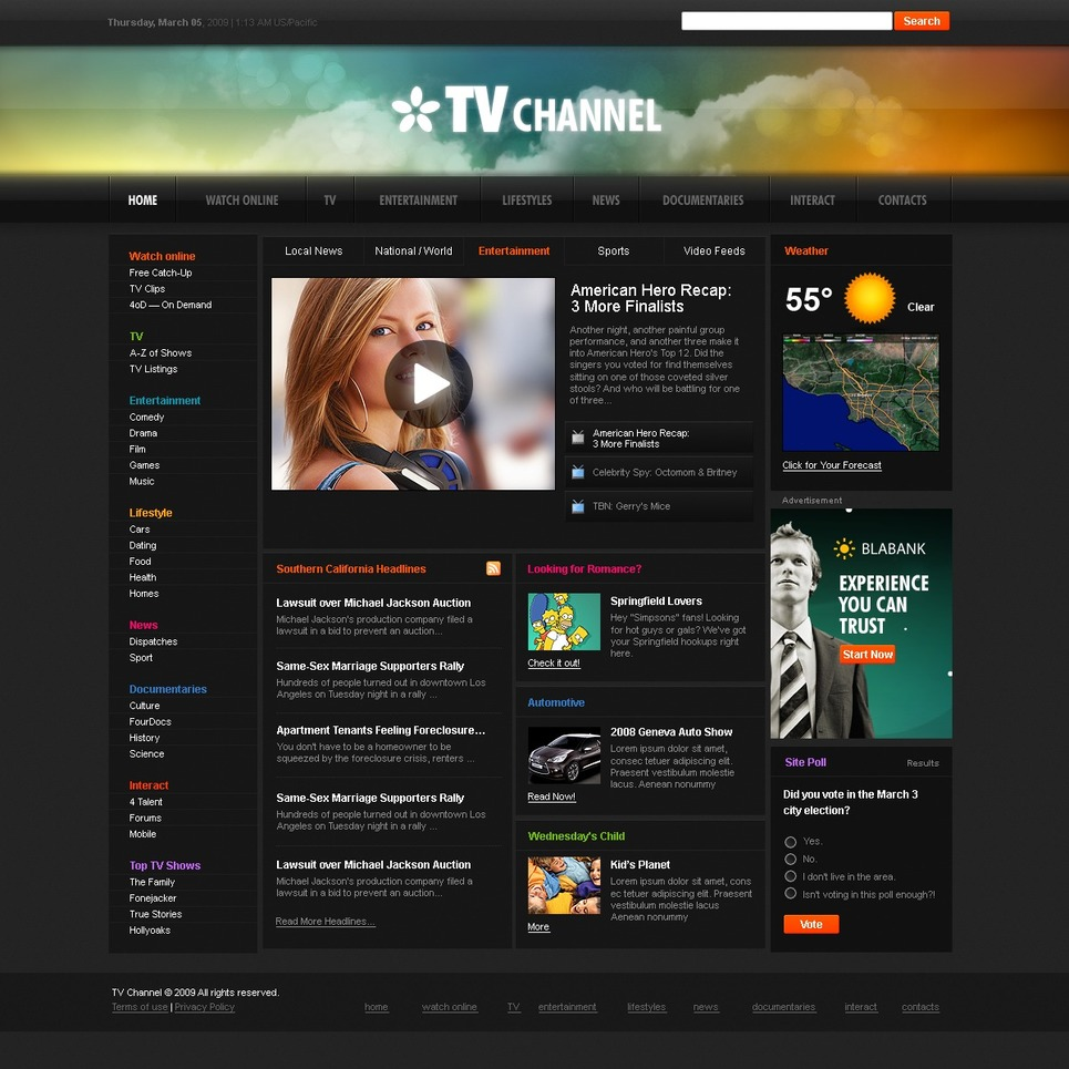 TV Channel Website Template New Screenshots BIG