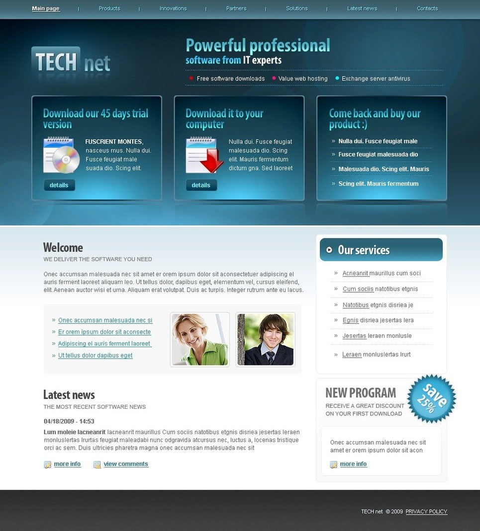 Software company website template web design templates for Website planning tool