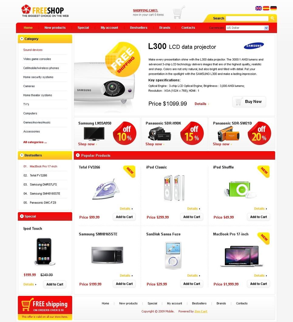 Electronics Store ZenCart Template New Screenshots BIG