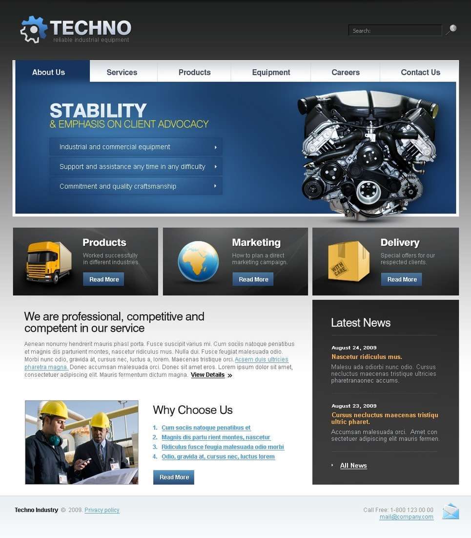 Industrial Website Template New Screenshots BIG