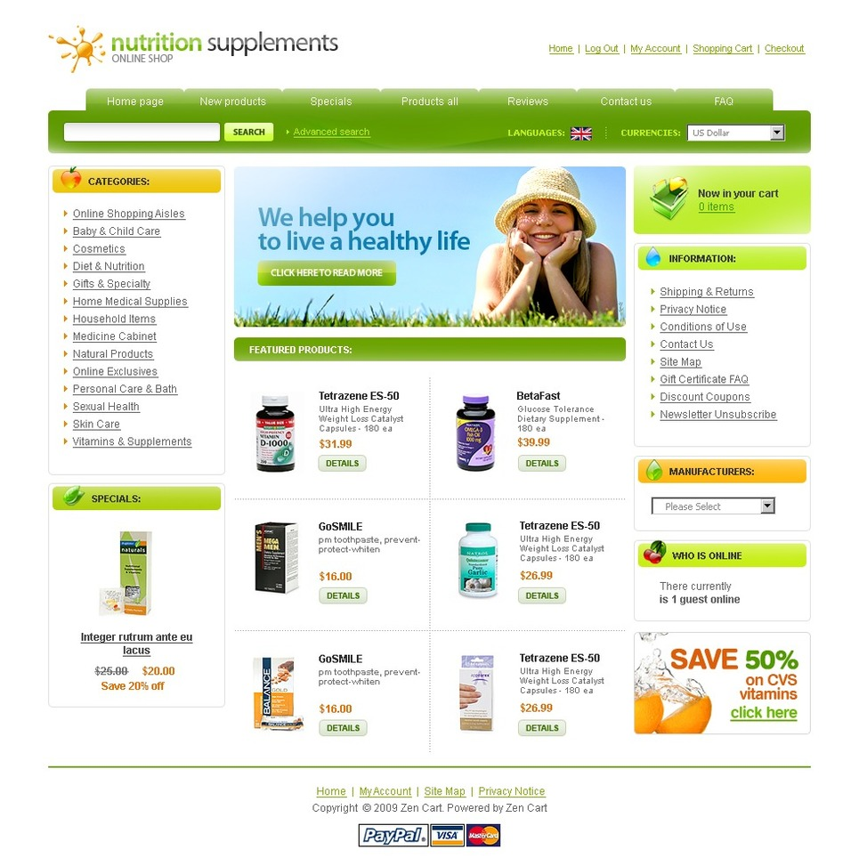 Nutrition Store ZenCart Template New Screenshots BIG