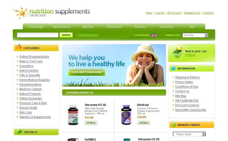 Nutrition Store ZenCart Template New Screenshots BIG