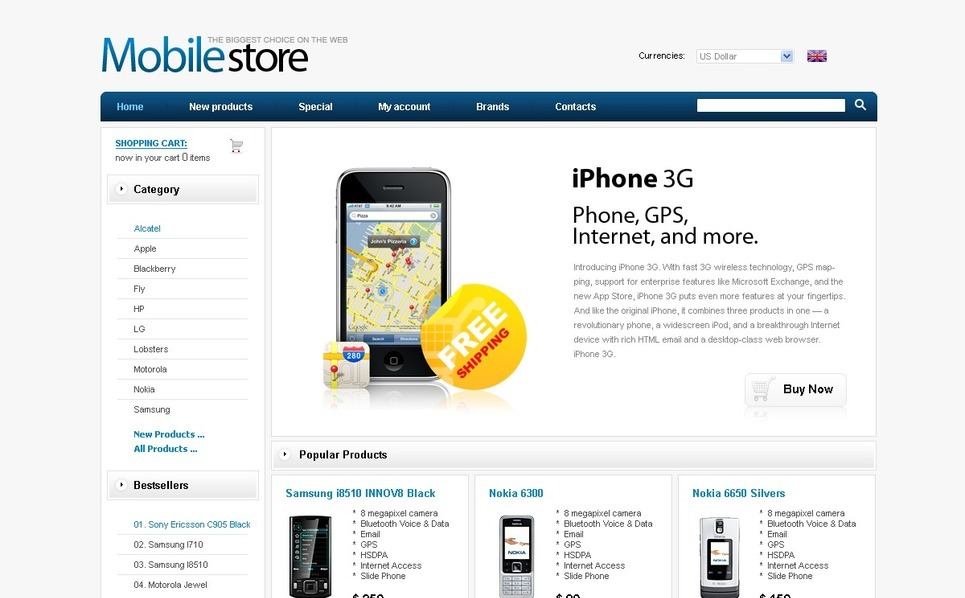 Mobile Store ZenCart Template New Screenshots BIG