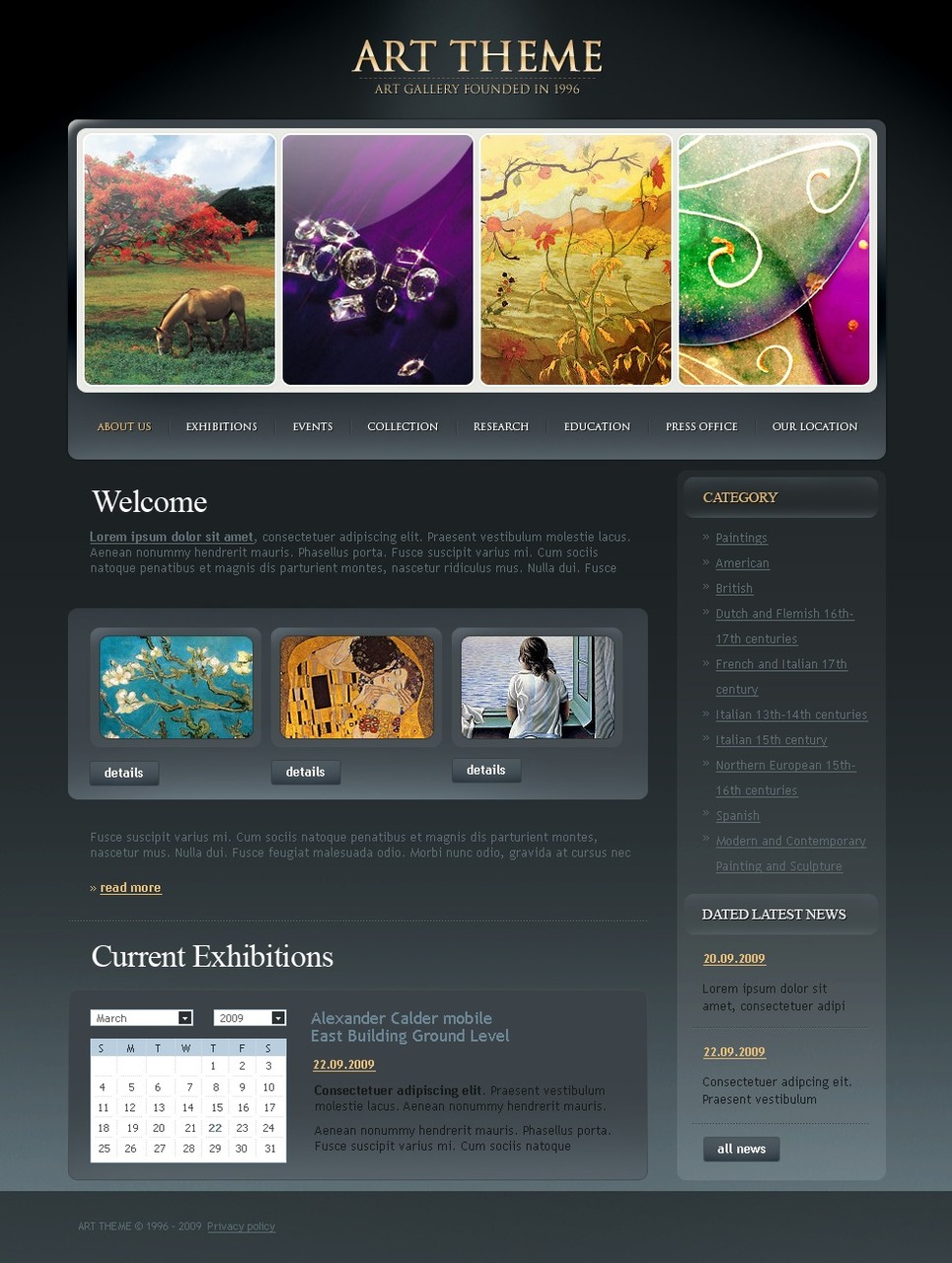 Art gallery website template web design templates for Photo gallery html template free download