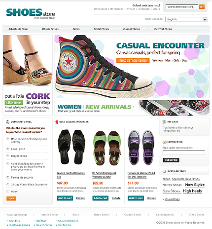 Shoes store - Casual Footwear Store Magento Template