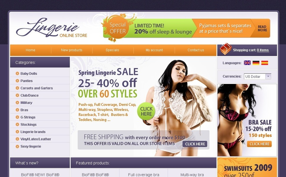Lingerie OsCommerce Template New Screenshots BIG