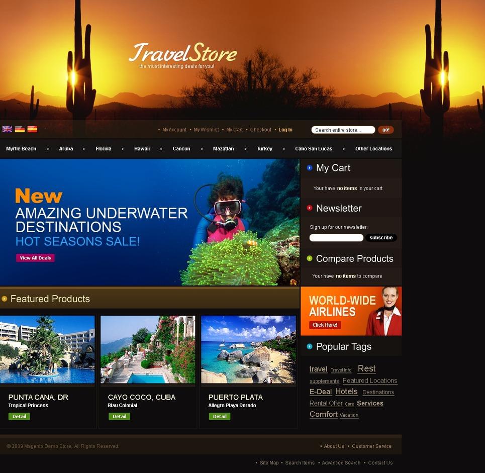 Travel Store Magento Theme New Screenshots BIG