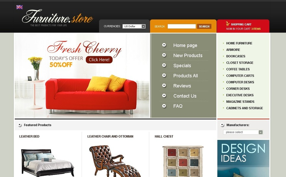 Furniture ZenCart Template New Screenshots BIG