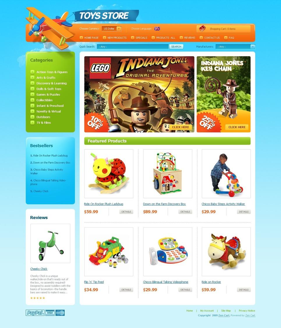 Toy Store ZenCart Template New Screenshots BIG