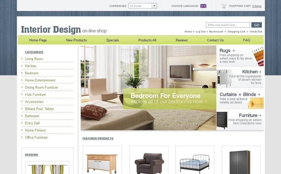 Interior Design ZenCart Template New Screenshots BIG