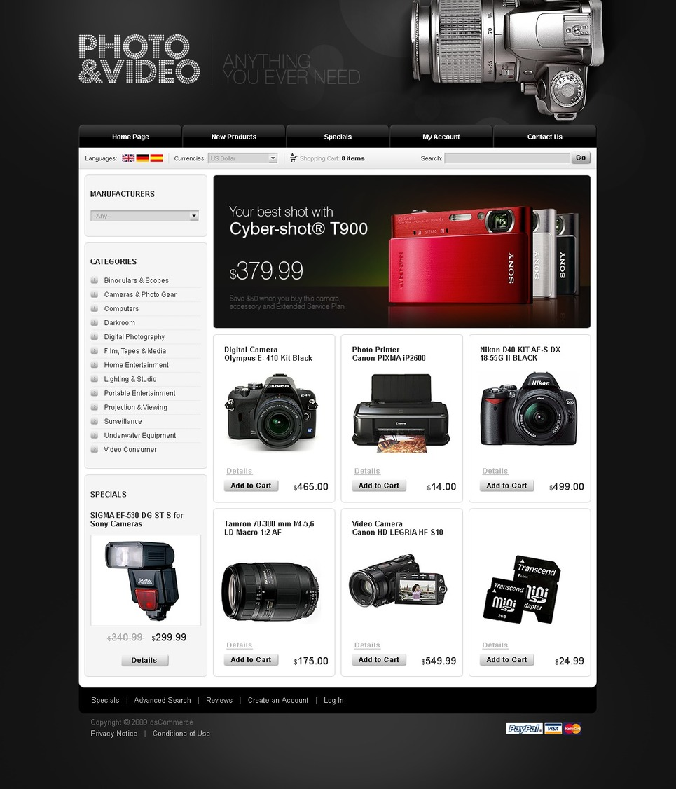 Electronics Store OsCommerce Template New Screenshots BIG
