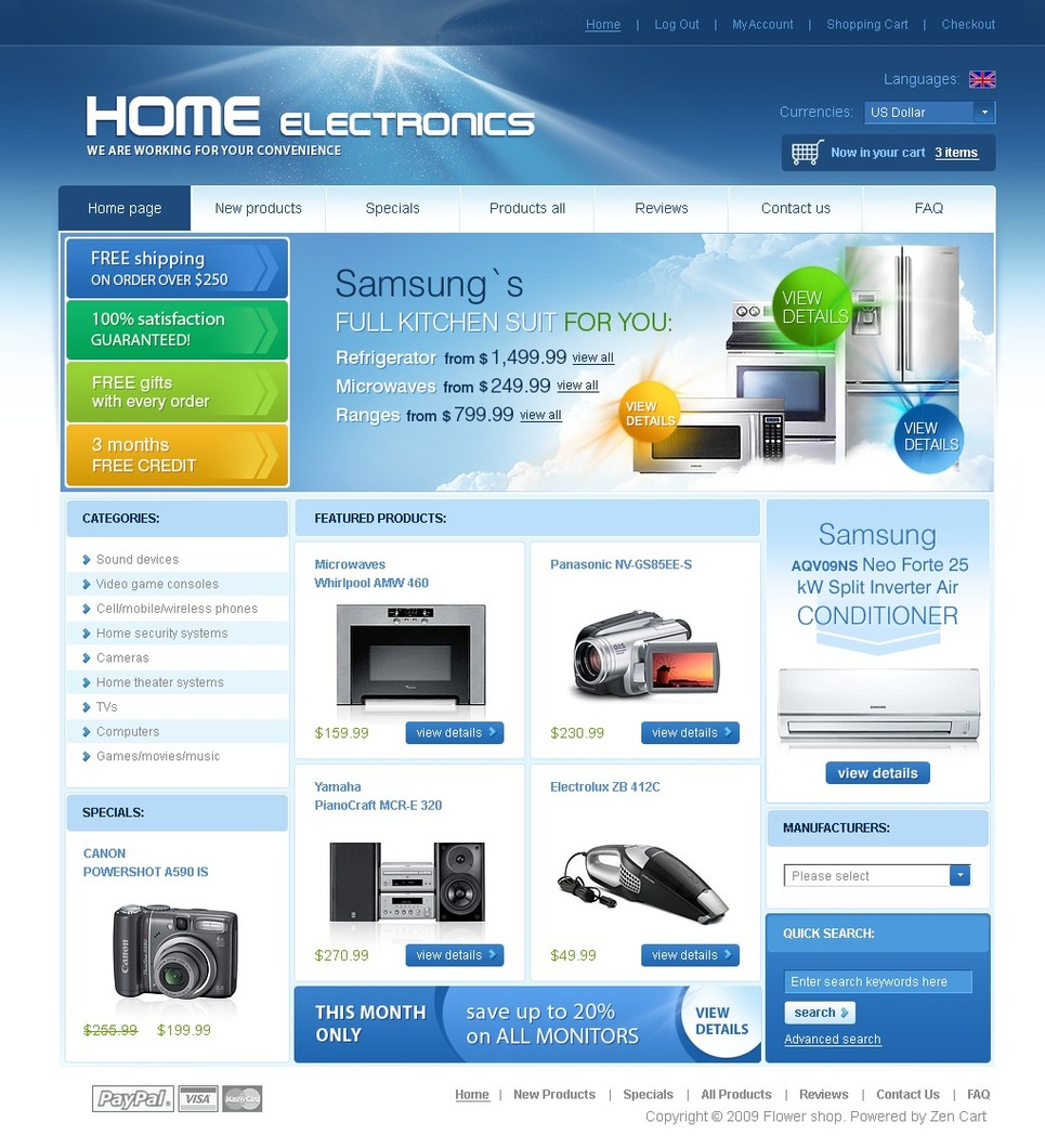 Electronics Store ZenCart Template New Screenshots BIG