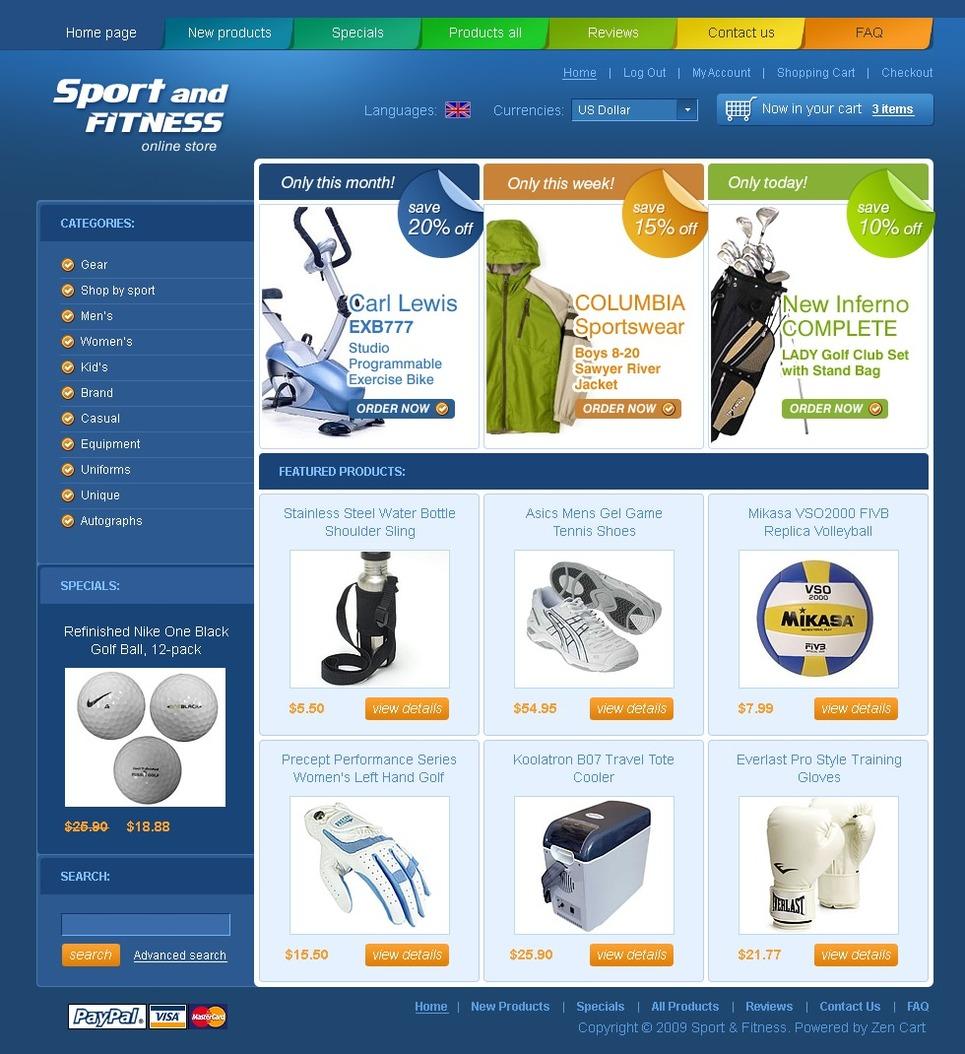 Sports Store ZenCart Template New Screenshots BIG