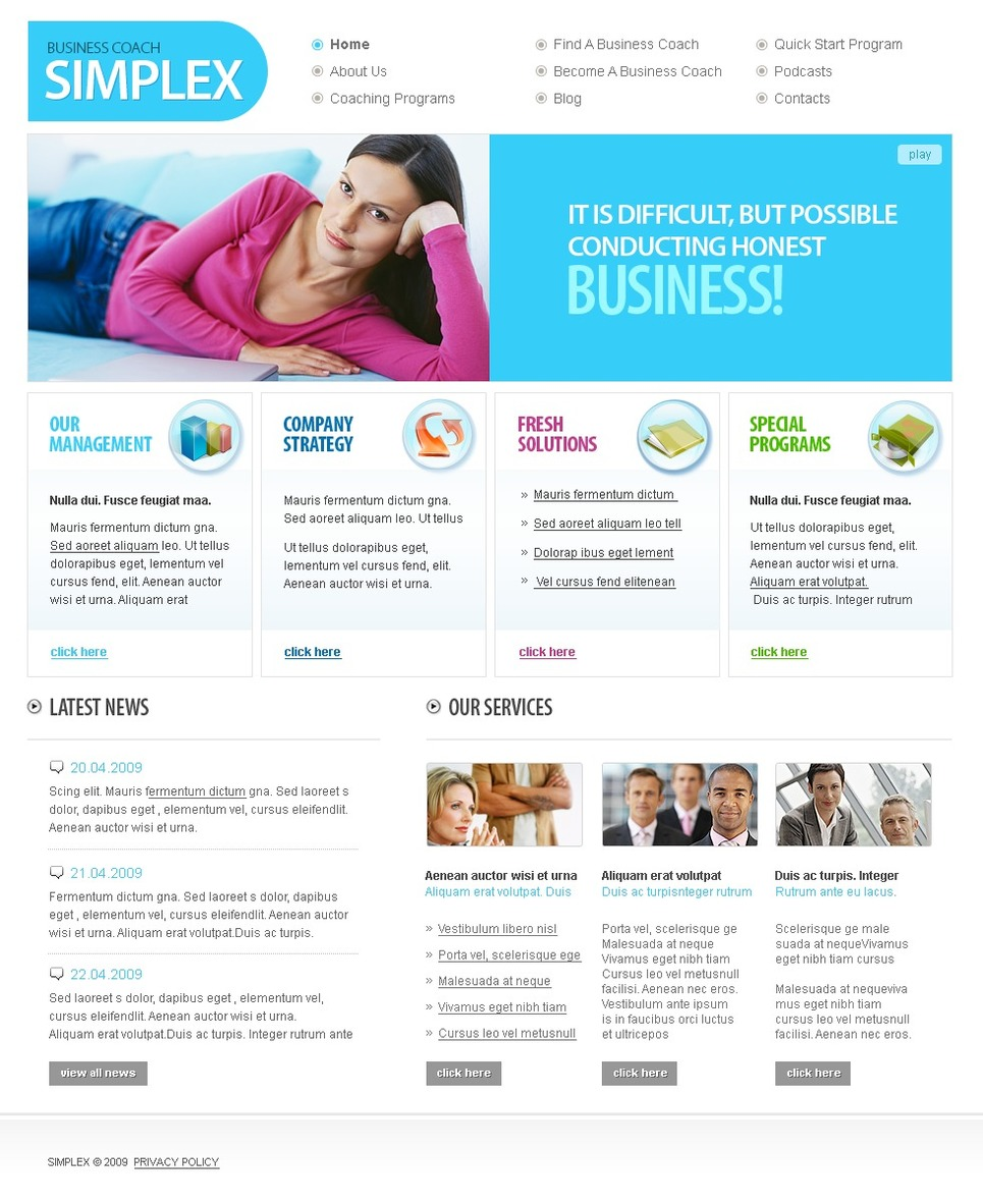 Business School Website Template New Screenshots BIG