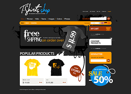 T-shirt shop - Grand T-shirt Shop Magento Theme