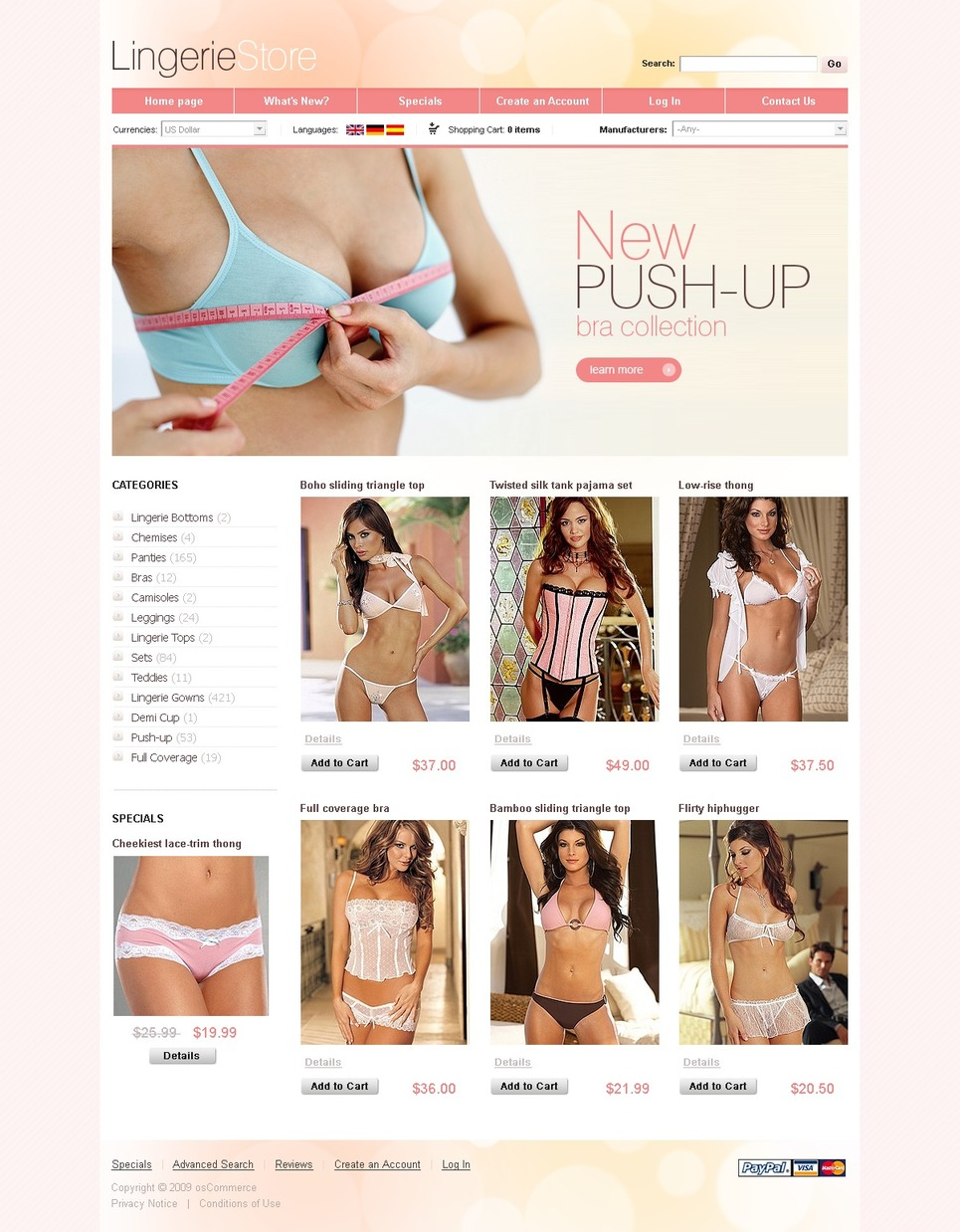 The Simple Lingerie OSCommerce Template