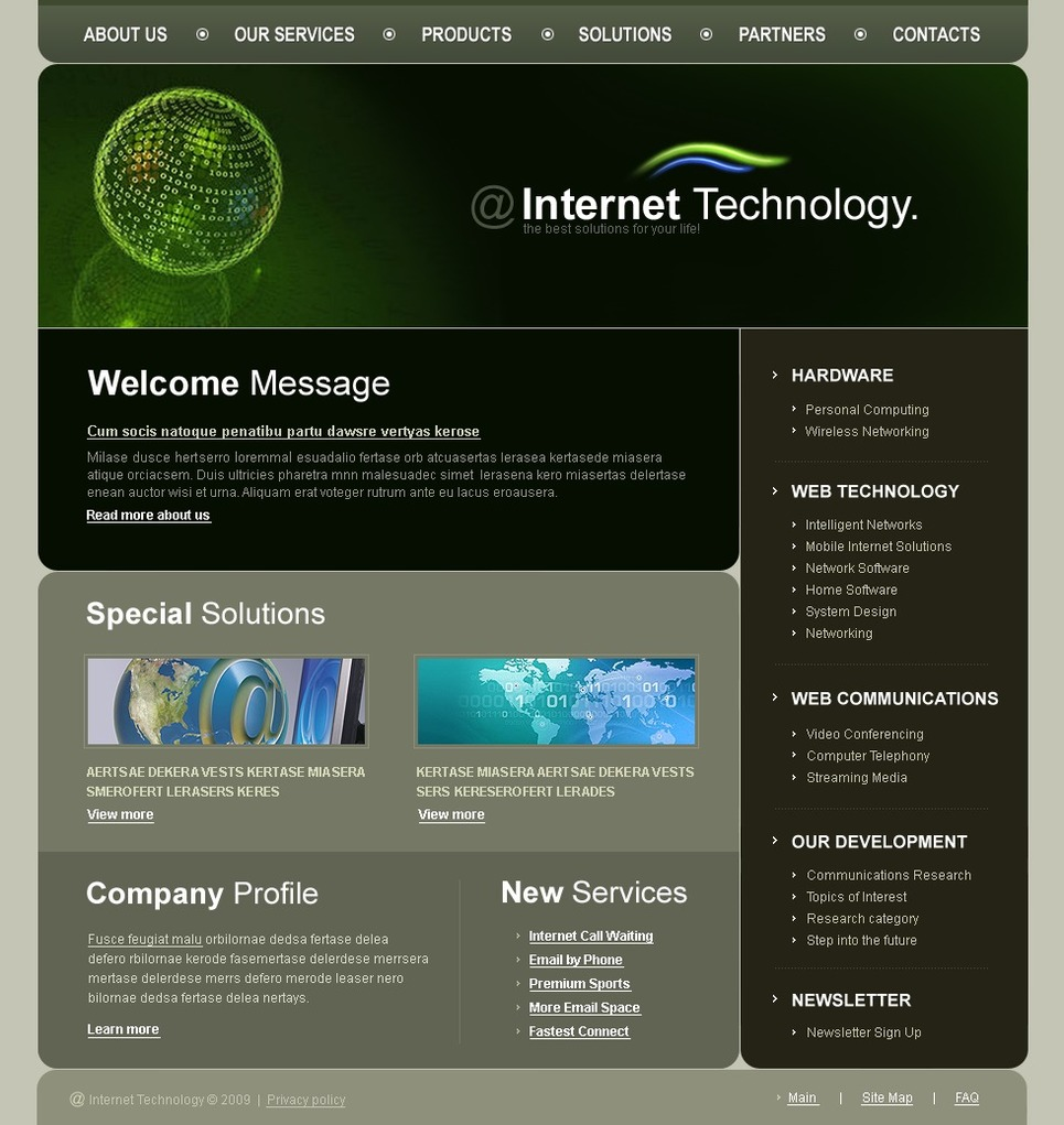 Internet Website Template New Screenshots BIG