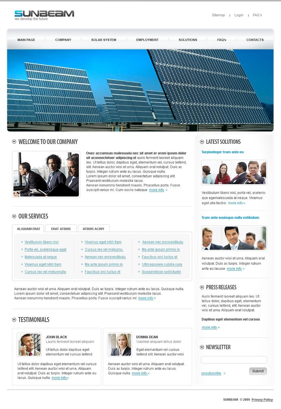Solar Energy Website Template New Screenshots BIG