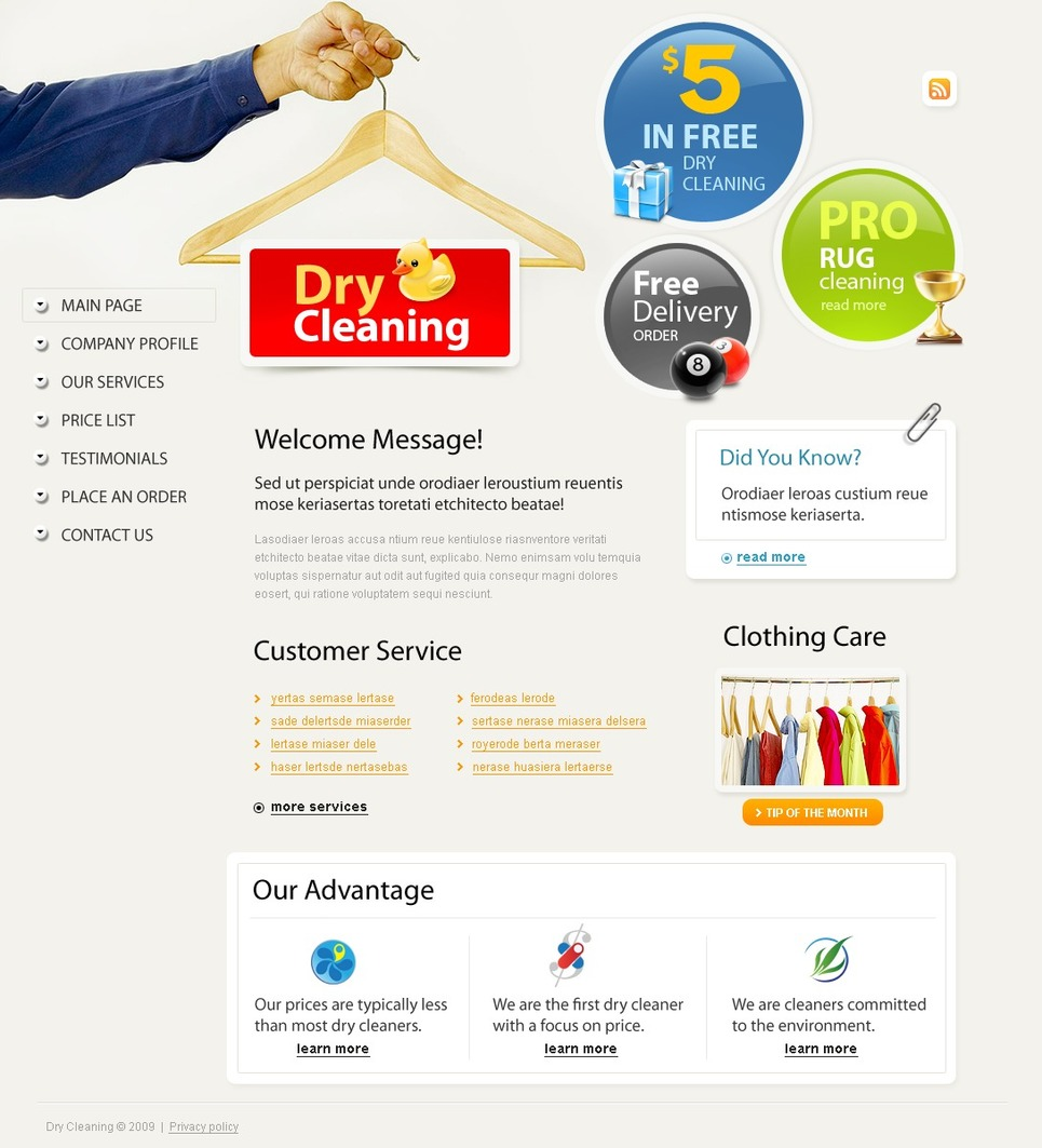 Dry Cleaners Website Template - Web Design Templates, Website ...