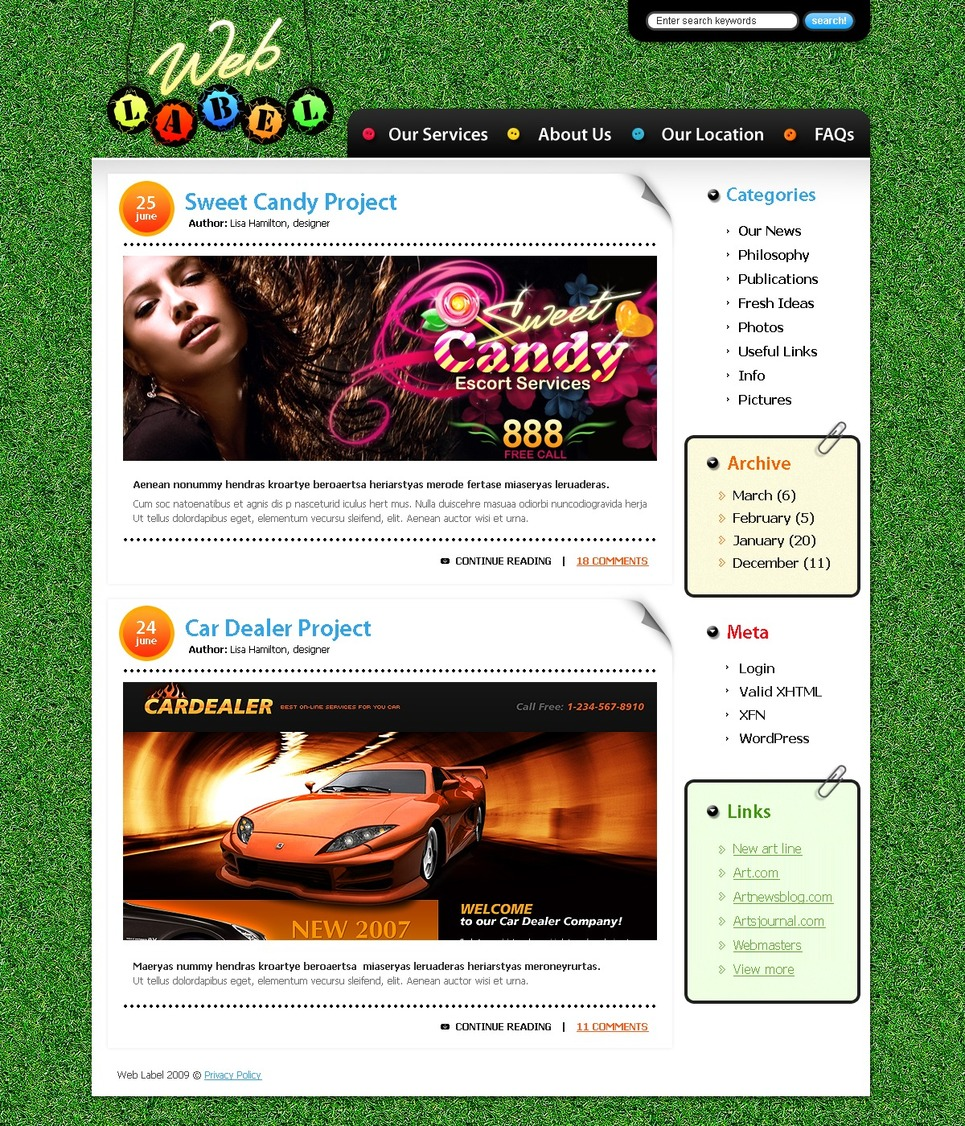 Personal Page WordPress Theme New Screenshots BIG
