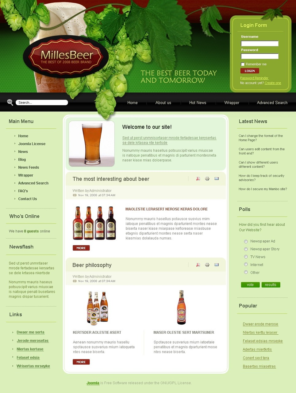 Brewery Joomla Template New Screenshots BIG